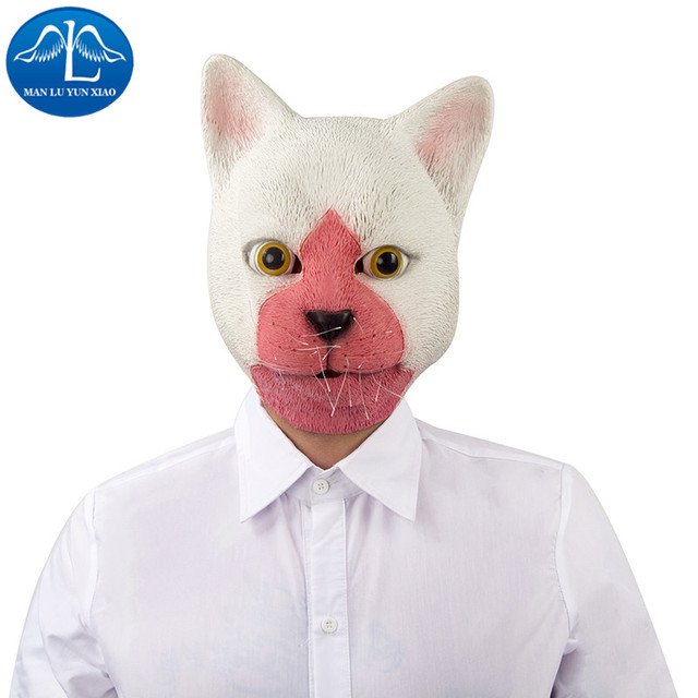 manluyunxiao white cat mask head deluxe quality adult overhead latex animal mask funny halloween props wholesale