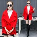 2016 winter new double-breasted big yards woolen coat female Korean Slim female short paragraph coat