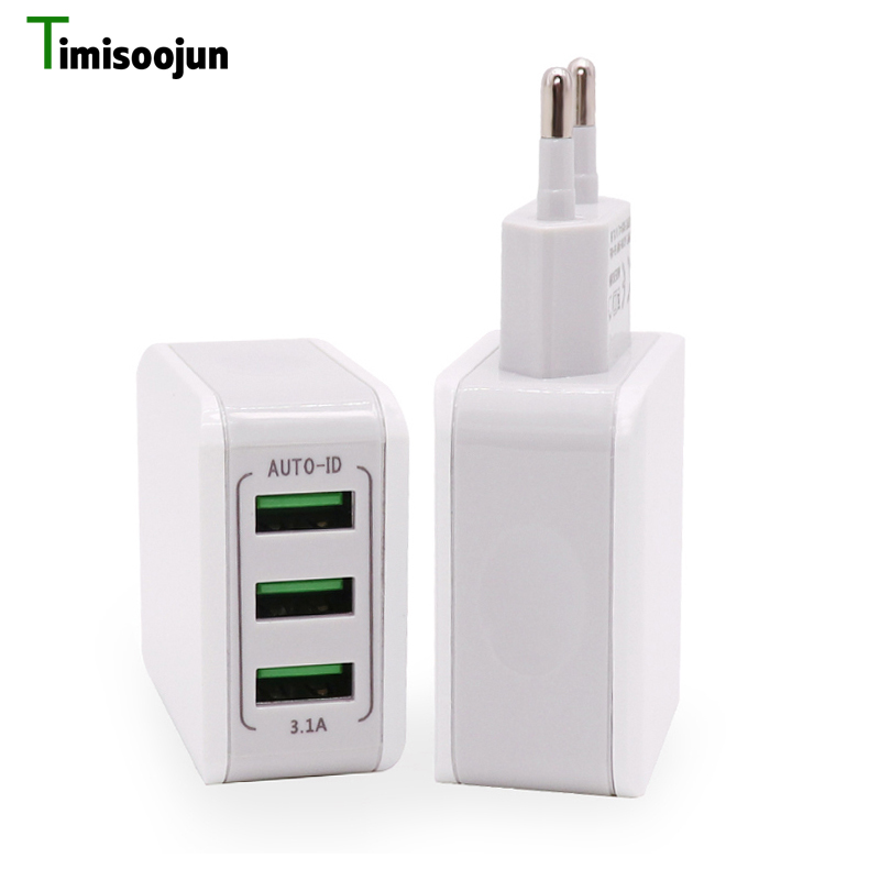 Timisoojun Mobile Phone Charger 3 Ports USB Charger EU/US Portable Universal Travel Adapter For iPhone Samsung XIAOMI Huawei