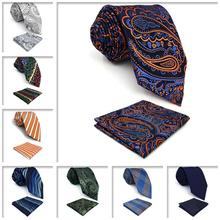 Paisley Checkes Mens Necktie Pocket Square Set Groom Extra long size Wedding 63 Ties for Men Fashion