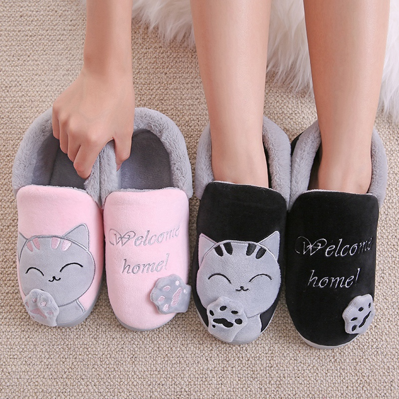 Women Slippers Winter Warm Plush House Slippers Embroidery Lovely Cat Home indoor Shoes Women Lovers Couples Zapatillas Mujer 1