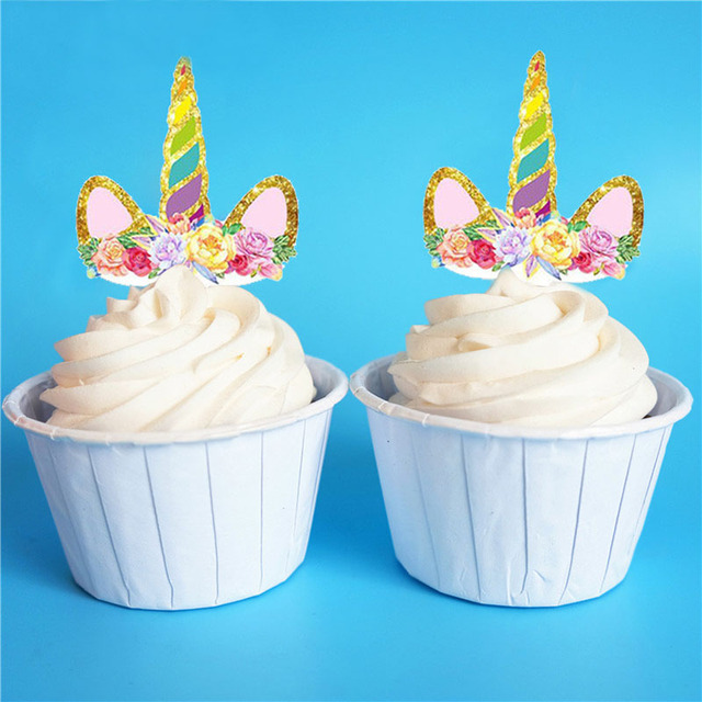 12pcslot Unicorn Party Cupcake Topper Unicornio Aniversario Party