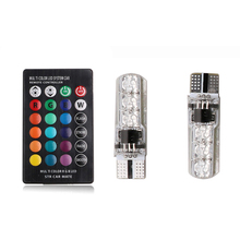 2X RGB T10 W5W 194 LED Clearance Lights Width Parking Bulbs 12V 2W 3014 Canbus No Error Signal Lamps Colors
