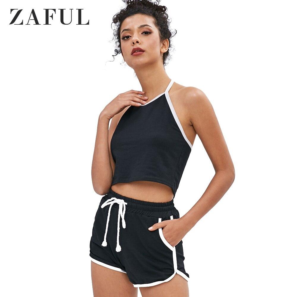 ZAFUL Womens Two Piece Sets Summer Ladies Way Sleeveless Halter Sexy Crop Top And High Waist Drawstring Piping Shorts Set