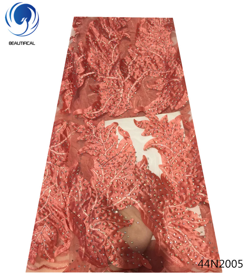 Beautifical tüll perlen spitze stoff heißer verkauf nigeria spitze stoff nigerian spitze stoffe 2018 hohe qualität für bekleidungs 44N20 - 4