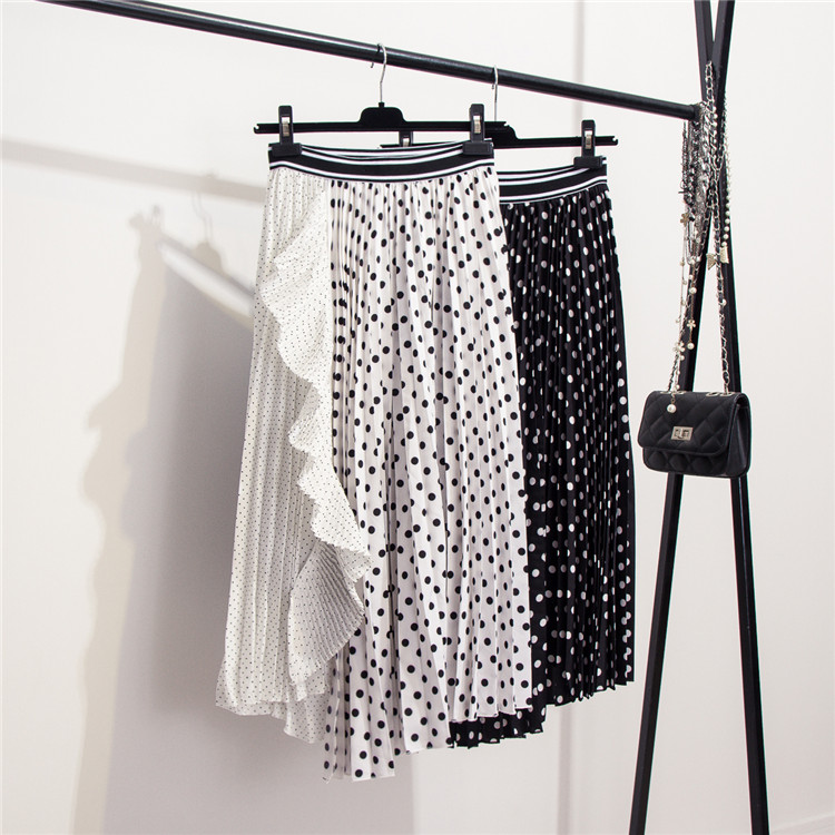 2019 Spring New Brand New Small Dot Splicing Lotus Leaf Edge Medium long Irregular Pleated Skirt for Women