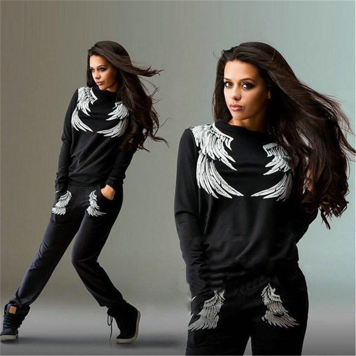 Hot Brand 2019 Women Suit Tracksuit Wing Printing Set Spring Autumn Women Tops + Pants Fashion Suit Female Clothes Plus Size