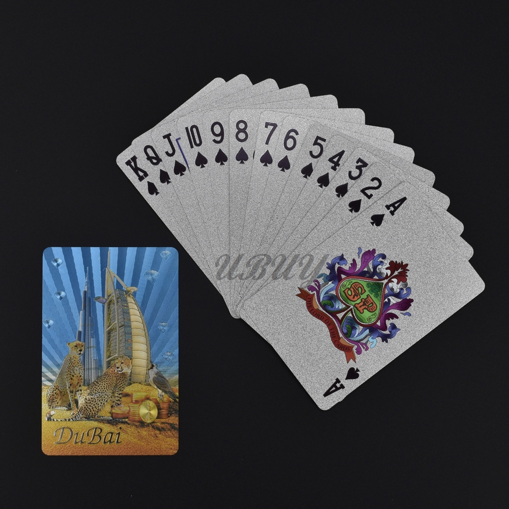 UB Novelty Dubai Design Silver Foil Playing Cards Deck Poker Game Waterproof Cards in Gold Banknotes from Home Garden
