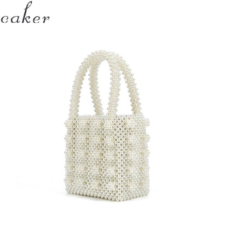 71d972a86b1 FLASH SALE] Pearls bag crystal beaded clear box totes bag women ...