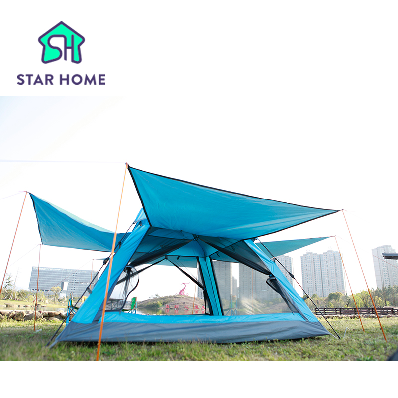 Star Home Automatic Quick Set Up Outdoor Camping Tent 3-4 Man Breathable Windproof Waterproof Anti-Mosquito Beach Party 4KG  outdoor camping tent 3 4 beach tent camping tent single summer mosquito children play tent