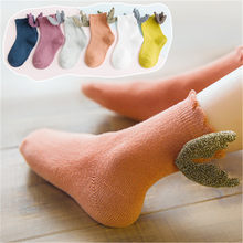 High-grade Kids Cute Angel Socks Soft Cotton Blends Casual Crew Sock With Sequined Wings Solid Cute Princess Soft Comfy Socks(China)
