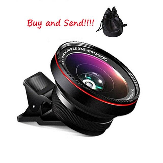 37mm 0.6 x ultra-wide angle + 15 x a lente macro para iphone 6 s 6 mais 5 para samsung s7 s5 s6 clip-on design for smart phone