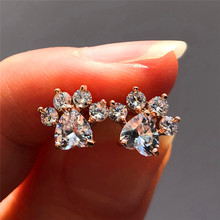Pendientes de piedra de ópalo blanco y azul para mujer, joyería de boda de oro rosa y plata, pendientes de garra de perro pequeño para las mujeres