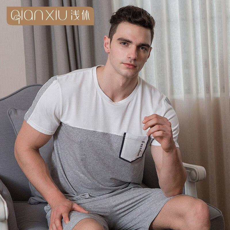 2018 QIANXIU Summer Men Pajamas Pure Cotton Round Collar Double Color Stitching Male Sleepwear Loose Short Sleeve Pyjamas Man