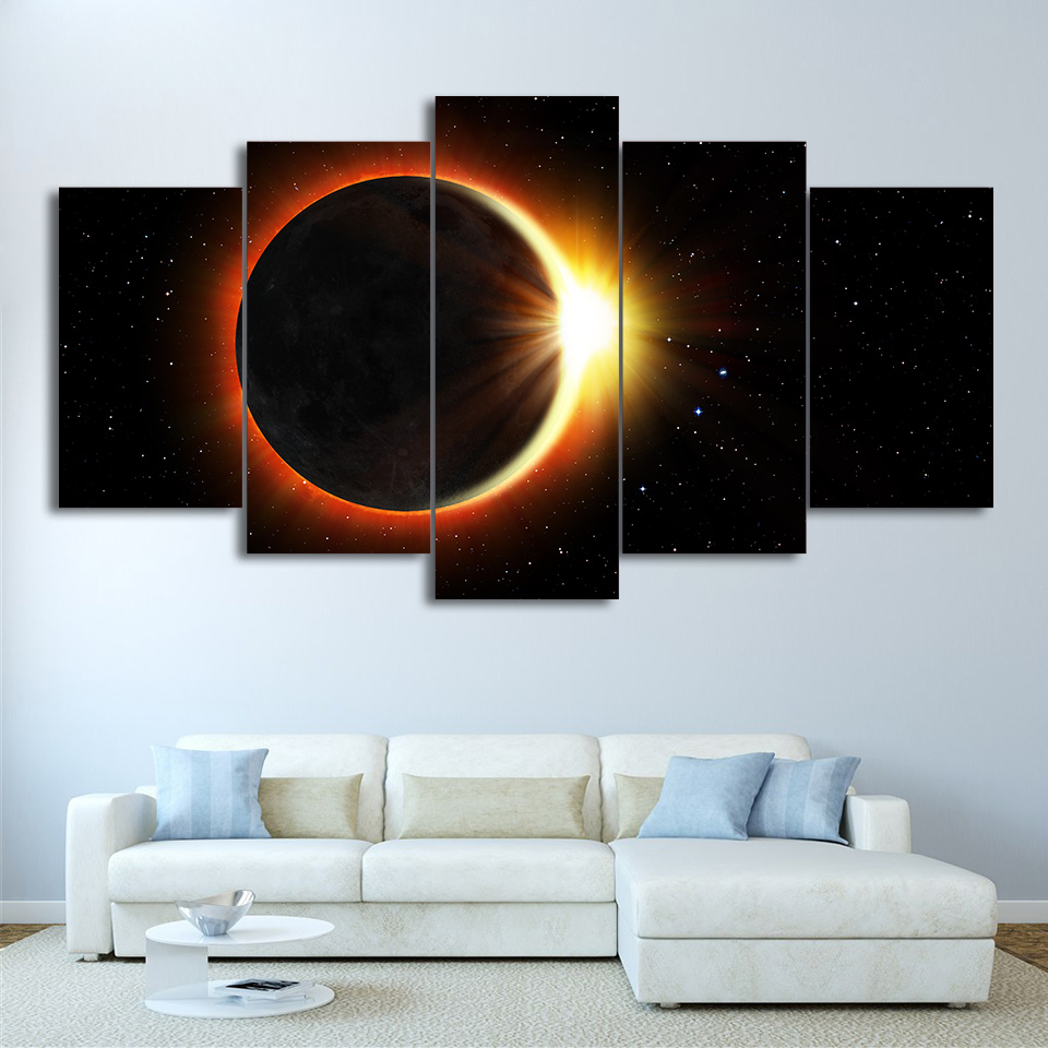HD Printed 5 Piece Canvas Art Eclipse Painting Universe Wall Pictures for Living Room Decor No Framed Poster Free Shipping