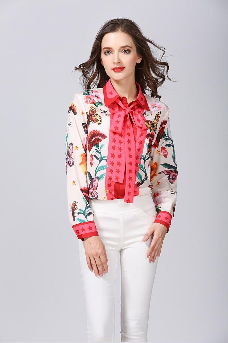 Haute qualité nœud papillon impression blouses 2018 printemps pistes S-3XL grande taille floral imprimé chemise hauts femmes élégant à manches longues chemise