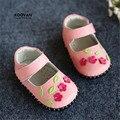 Koovan pisos 2017 primavera primeros caminante del bebé dulce flores suave de los bebés zapatos de cuero genuino
