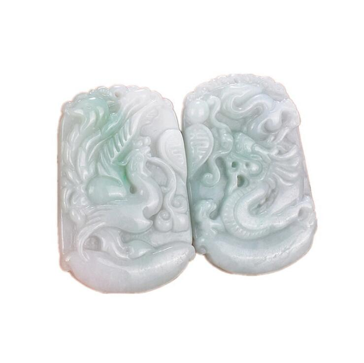 TJP Natural myanmar jadeite Longfeng Pair pendant Double Happiness Dragon Phoeni jade pendant for women and men natural jadeite dragon brand lace jade pendant zodiac dragon transshipment yu pei jade pendant necklace for women and men