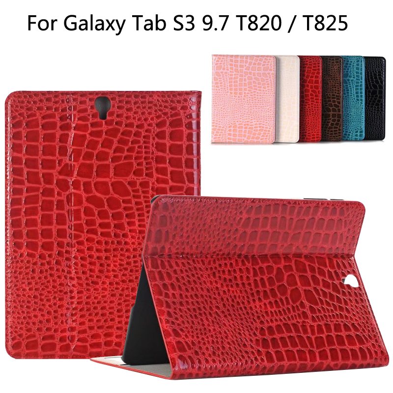 New 2017 Luxury High quality crocodile leather case For Samsung Galaxy Tab S3 T820 T825 9.7 inch Tablet Smart case cover + Gift luxury flip stand case for samsung galaxy tab 3 10 1 p5200 p5210 p5220 tablet 10 1 inch pu leather protective cover for tab3
