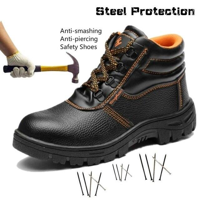 Người đàn ông An Toàn Giày Cap Toe Thép Giày Làm Việc Đâm Bằng Chứng Công Nhân Giày Người Đàn Ông Mắt Cá Chân Khởi Động Đi Bộ Đường Dài Khởi Động