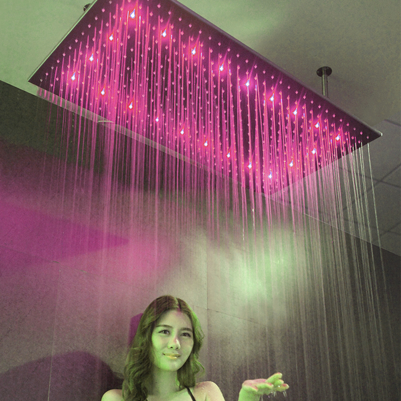 Luxury LED 3 Colors Water Changing 500*1000mm Big Rain Shower Head Ceiling Mounted 304 SUS With Shower Arm Showerhead Bathroom luxury color changing led rainfall shower head 10 brass bathroom showerhead ceiling mount shower arm
