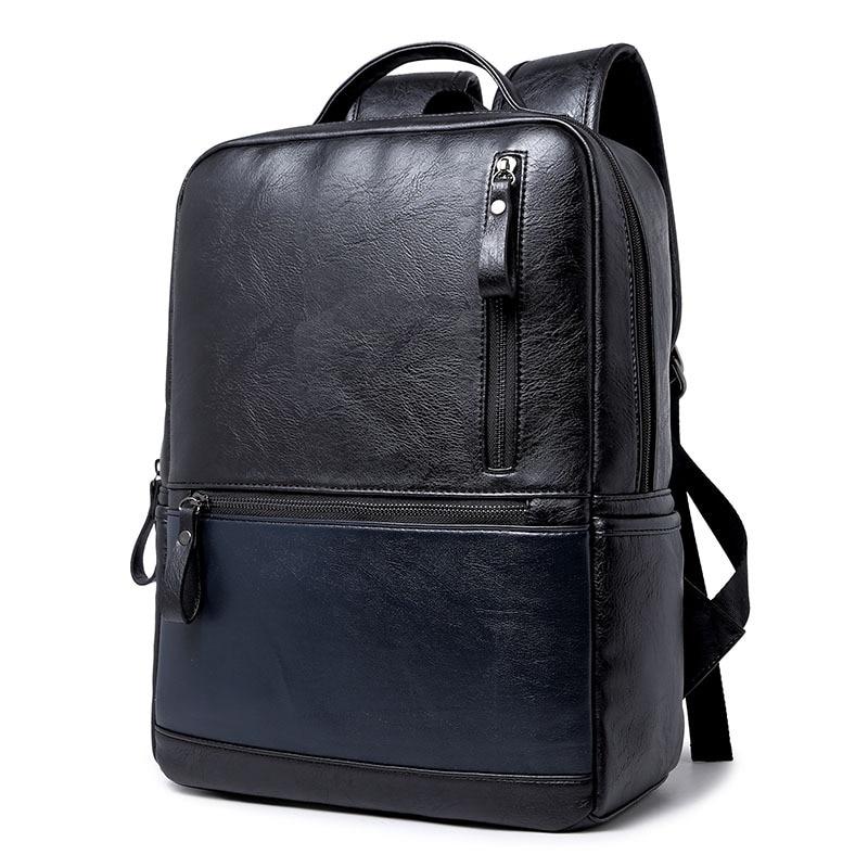 41c5dd71f Waterproof Backpack Men&Women Luxury Vintage PU Leather Vintage Backpack  Leisure Male School Bags Black Rucksack Mochila Y13