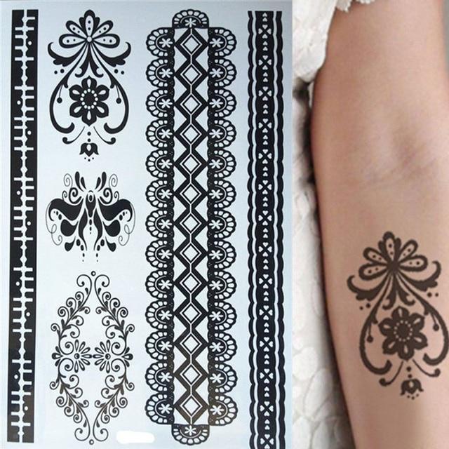 New Design Of Waterproof Black Lace Temporary Tattoos Henna Tattoos