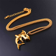 Stainless Steel Big Shark Pendant Necklace Men Jewelry Rock Punk Gold/Black Color Sea Animal Necklaces P1116