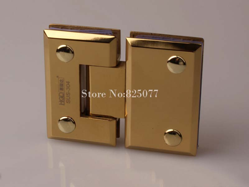High Quality 304 Stainless Steel Bathroom Shower Glass Door Hinges 180 Degree Glass-to-Glass Glass Clamps Fixed Holder Brackets rose gold 180 degree hinge open 304 stainless steel glass shower door hinges for home bathroom furniture hardware hm155