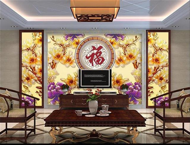 Benutzerdefinierte Mural Tapeten 3d Fototapete Orchidee Farbe Carving Malerei Wohnzimmer Sofa Tv Hintergrund Wand Vlies