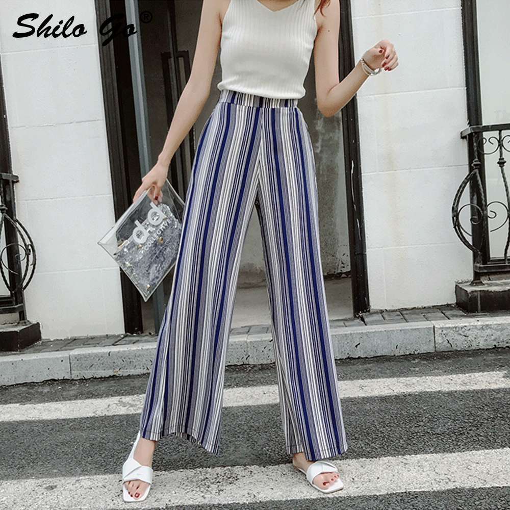 Retro Striped Casual   Pants     Capri   Women Trouser Elastic Waist Wide Leg   Pants   Summer 2019 Chiffon Elegant Loose Female   Pants