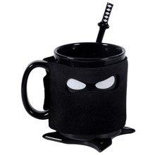 Kreative ninja kaffeetasse ninja maske ceramics drink keramik keramik kaffee milch tee tassen mit urlaub geschenke mit löffel schwert