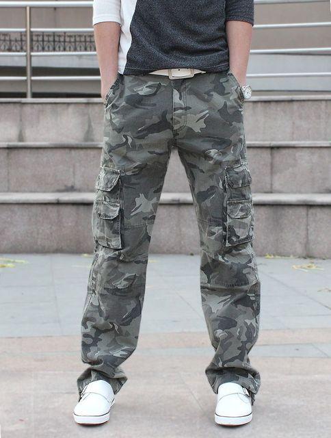 2013 Камуфляж брюки мужчины плюс размер чистого хлопка мульти-карман тонкий оснастки военные брюки подростковые