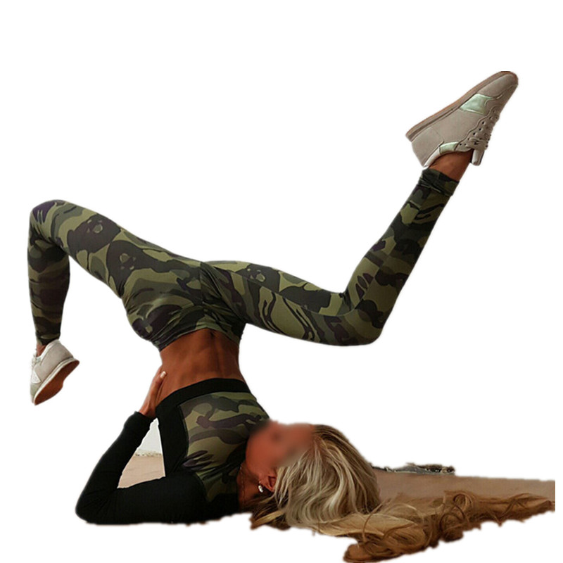 Women Yoga Running Tight Camouflage Leggings Gym Trousers Push Up Hips Workout Tracksuit Sportswear Fitness Pants KY1010