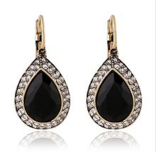 vintage Bohemian style gold color black stone water drop womens earrings 2.2*1.6cm one pair xye228