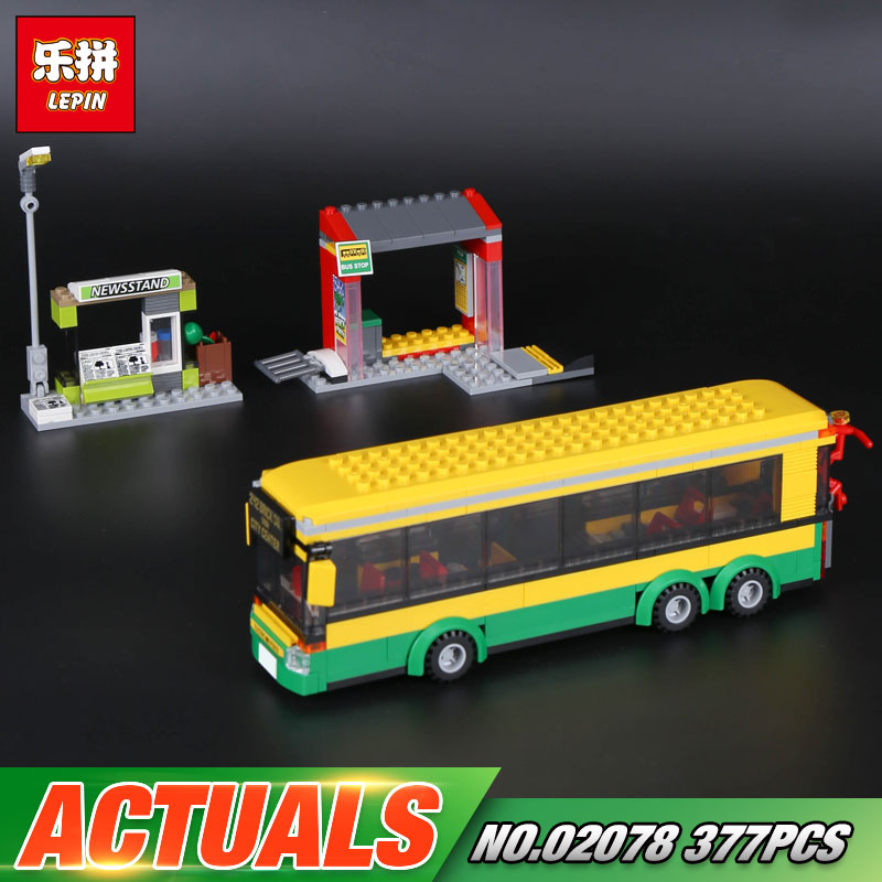 Lepin 02078 Genuine 377Pcs City Series The Bus Station Set 60154 Building Blocks Bricks Educational Toys As Funny Christmas Gift the new jjrc1001 lepin city construction series building blocks diy christmas gift for kid legoe city winter christmas hut toy