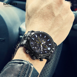 Image 4 - Megir 2019 Mannen Business Quartz Horloges Leger Sport Chronograph Horloge Man Top Merk Luxe Relogios Masculinos 2108 Zwart
