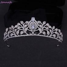 Jonnafe Luxury AAA Zircon Women Crown Silver Bridal Tiara Fashion Wedding Prom Accessories Hair Jewelry