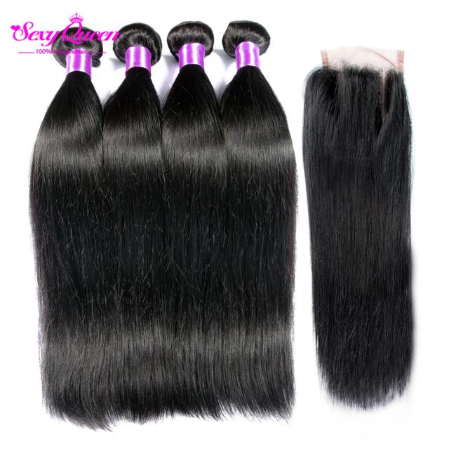 Grau 8a não transformados mink queen hair products brasileiro cabelo humano virgem reta com fechamento com 3 fechamentos de peças monte pacote