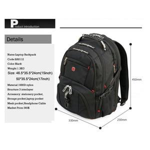"Image 3 - ใหม่กองทัพทหารสวิสกระเป๋าเดินทางกันน้ำ 17.3 ""กระเป๋าเป้สะพายหลังแล็ปท็อปขนาดใหญ่ความจุพอร์ตชาร์จ USB กระเป๋าเป้สะพายหลัง"