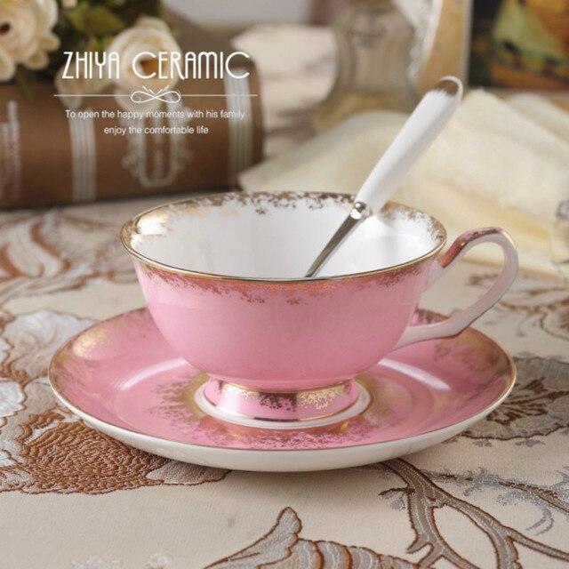 200ml Joyous Black Tea Cup Ceramic Bone China Gold Plated Rim Coffee Mug  Drinkware With Spoon