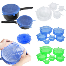 6PCS/Set Universal Silicone Lids Stretch Suction Cover Cooking Pot Pan Spill Lid Stopper Home Bowl