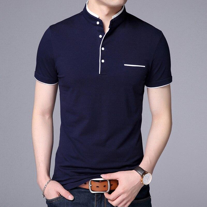 2019 New Men Mandarin Collar T-Shirt basic tshirt male short sleeve shirt Tops Tees Cotton T Shirt ABZ354
