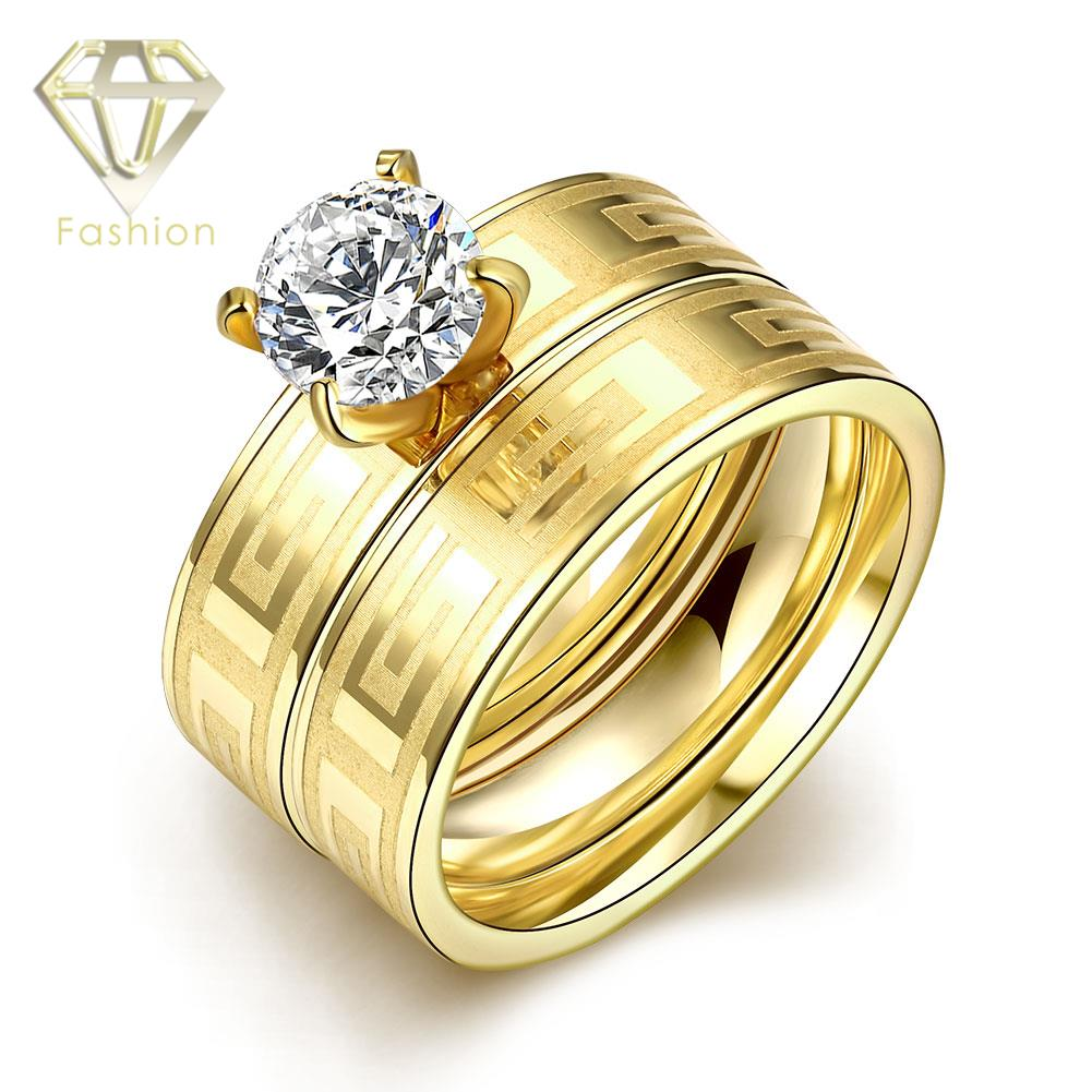Expensive Engagement Rings Fashion Gold Color 316l Stainless Steel With  Zircon Double Ring Romantic Jewelry For Couples