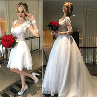 Elegant Detachable Train Wedding Dresses With Sleeves 2019 Robe De Mariee A Line Tulle Custom Made Bridal Gowns