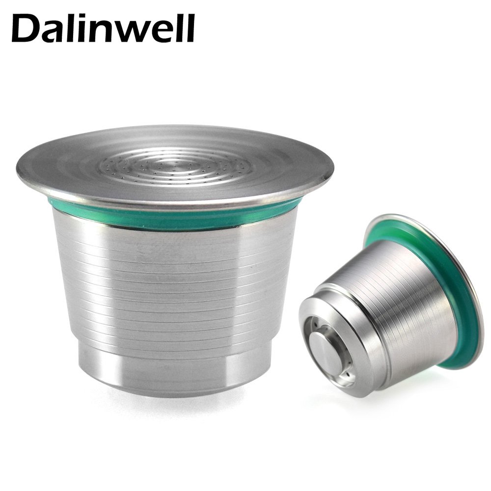 Stainless Steel Metal Nespresso Reusable Coffee Filter Cup Dripper Refillable Capsule for Nespresso Machine+ 1 Spoon +1 Brush