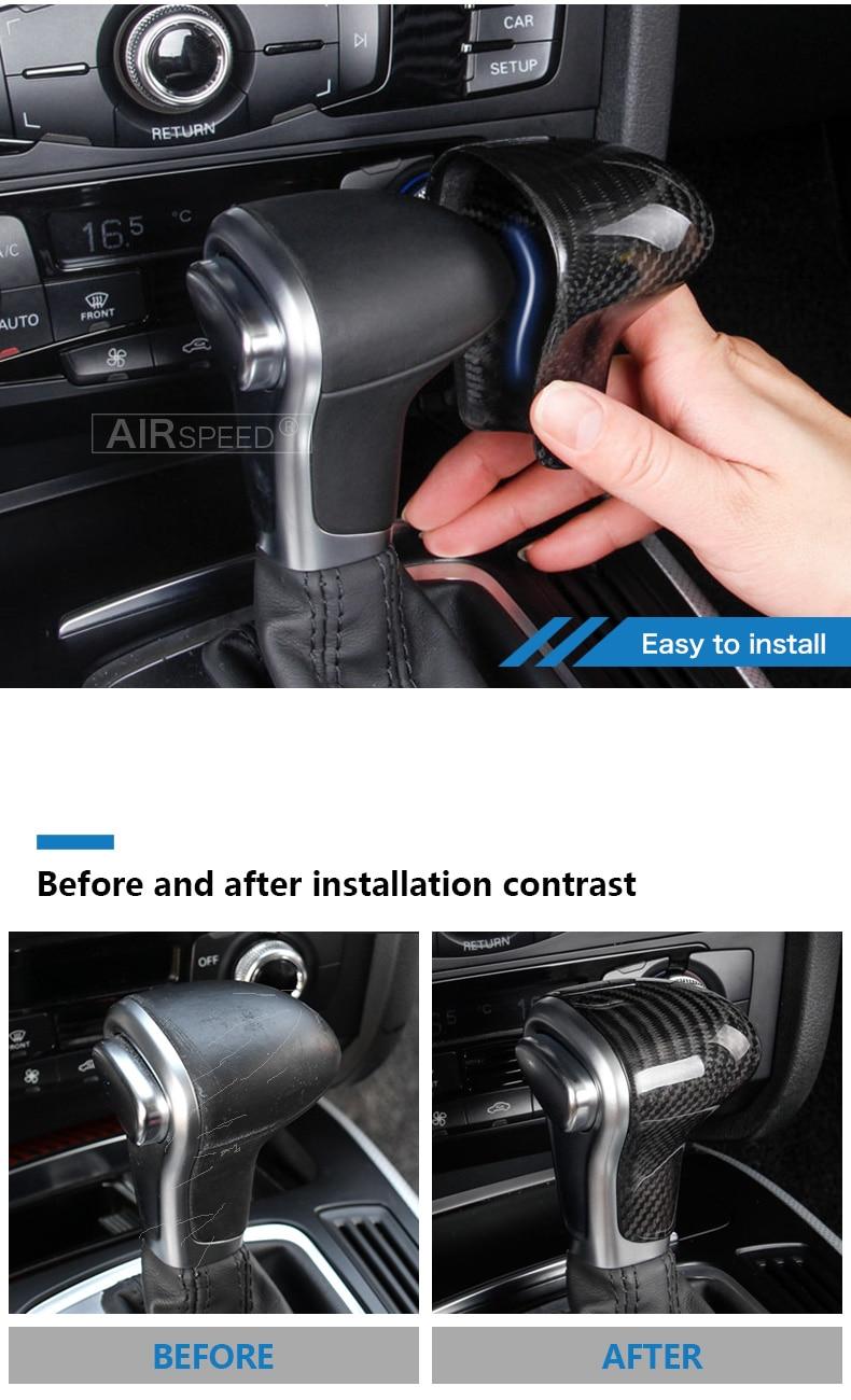 Carbon Fiber Gear Shift Knob Cover Head for Audi A4 B9 B7 A5 Q7 A3 S3 A4 B8 A5 C6 A6 C7 C6 S6 A7 S7 A8 Q5 Accessories (5)
