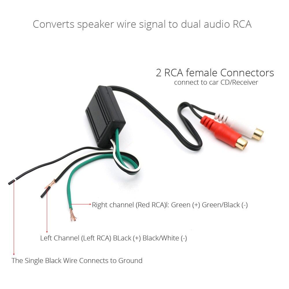 AtoCoto Car Stereo Radio Speaker Wire to RCA Line Level Converter ...