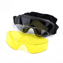 Three Colors Tactical Glasses Paintball Airsoft Shooting Goggles Hiking Eyewear Military