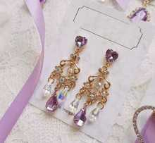 South Korean girl design in same dreamy purple earrings sweet love joker long tassels crystal earrings south korean high school parachute kids in southern california